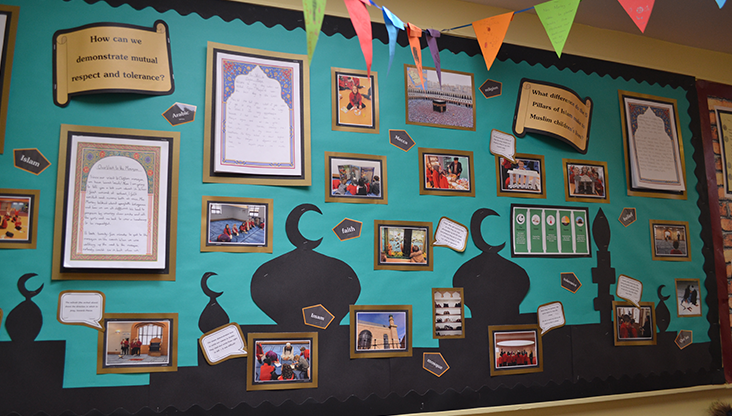 Laughton pupils school work displayed on the wall